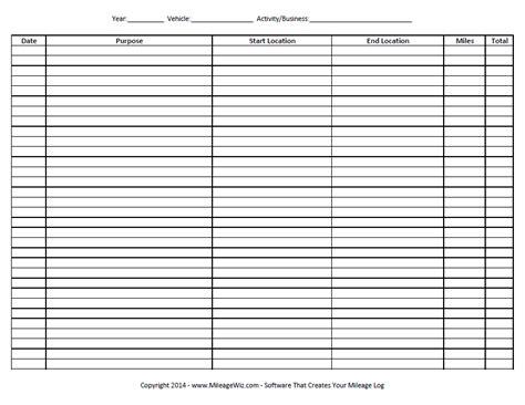 mileage log templates   printable word