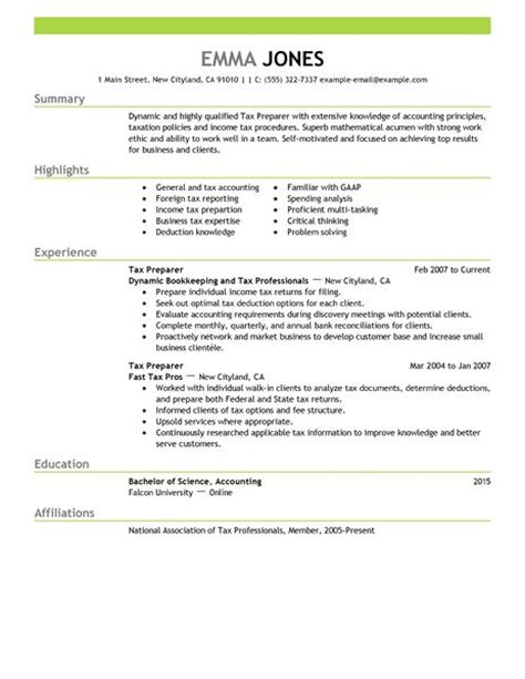 Tax Preparer Resume Templates by Best Tax Preparer Resume Exle Livecareer