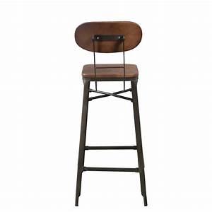 Chaise De Bar Metal : chaise de bar en m tal noir et bois lot de 2 koya design ~ Teatrodelosmanantiales.com Idées de Décoration