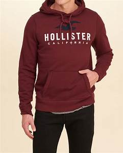 Lyst - Hollister Logo Graphic Hoodie in Red for Men