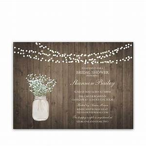 rustic mason jar wedding invitation with babys breath With rustic wedding shower invitations