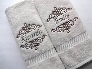 Set of 6 personalized bath towels hand towel bathroom for Embroidered towels for wedding gift