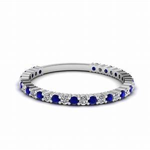 Delicate Diamond Wedding Band With Sapphire In Sterling