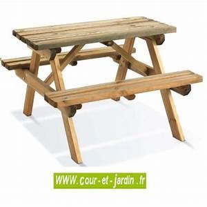 Table De Jardin Avec Banc : table pique nique bois de jardin avec banc table pique ~ Melissatoandfro.com Idées de Décoration
