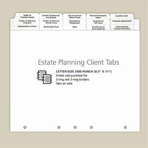 estate planning index tabs for clients and personal use With estate planning document organizer