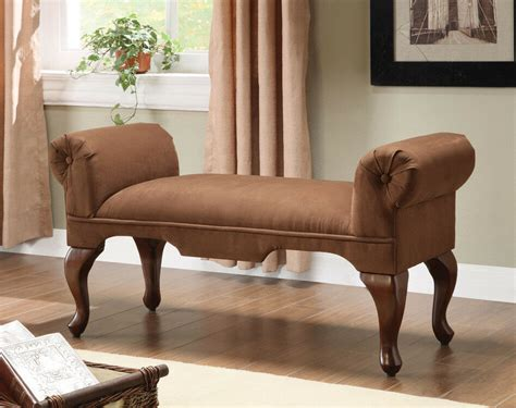 Chair Bench by Chocolate Microfiber Wood Frame Upholstered Seat Rolled
