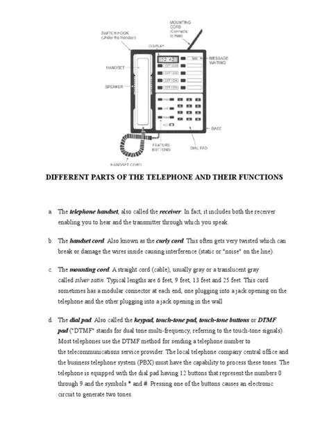 Different Parts Of The Telephone And Their Functions Docsharetips