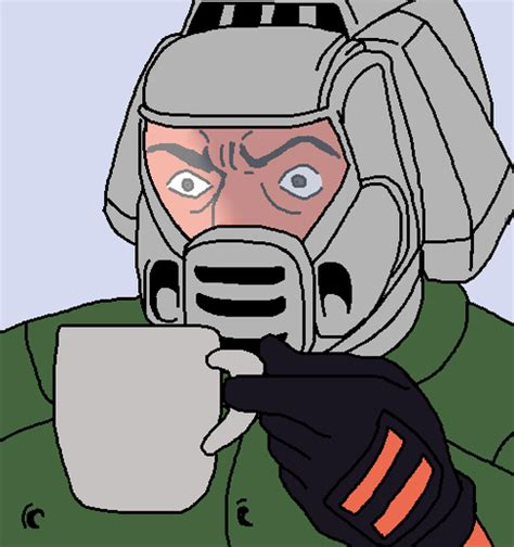 Doom Meme - doomguy with coffee reaction images know your meme