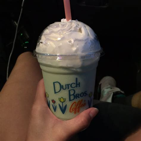 Dutch bros' amazing selection of specialty coffee drinks are absolutely delicious. My favorite so far!!! I'm guessing the flavor of the month: White Chocolate Mint Frost. Omg yum ...