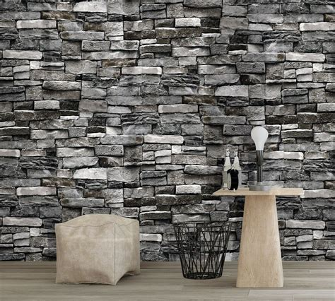 vintatge stone brick wallpaper rolls wall mural dark grey