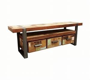 Schrank Metall Holz : tv schrank industriedesign lowboard metall holz l nge 160 cm ~ Indierocktalk.com Haus und Dekorationen