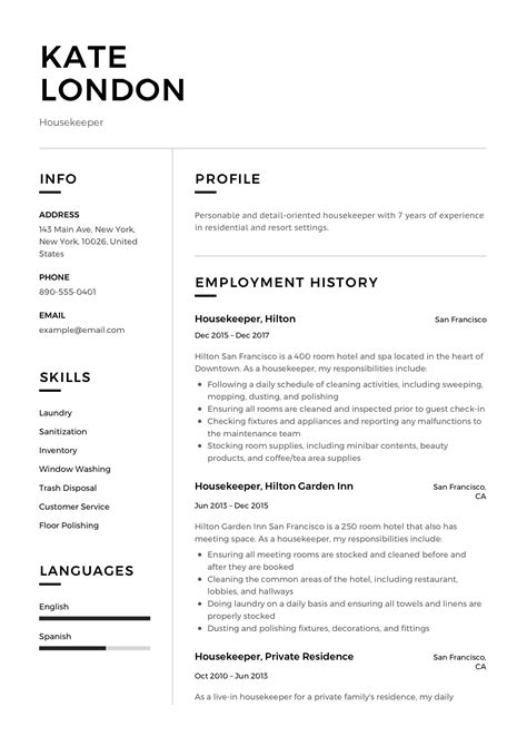 resume guide housekpeer  resume samples