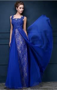 Royal Blue Lace Chiffon Popular 2017 Prom Dresses ...