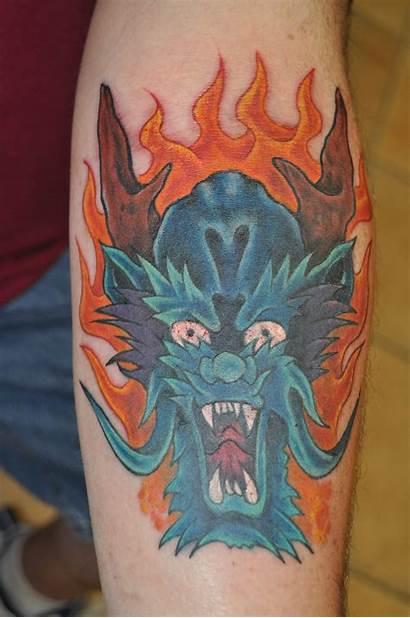 Tattoos Dragon Face Mouth Word Tattoo Progress