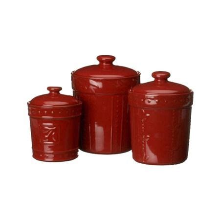 A simply sublime set of three canisters that ooze charm thanks to the polka dot pattern of the structure. I pinned this 3 Piece Sorrento Canister Set in Ruby from the Kitchen: Possible event at Joss and ...