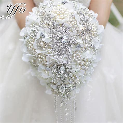 White Hydrangea Drop Brooch Bouquet Silver Wedding Bridal