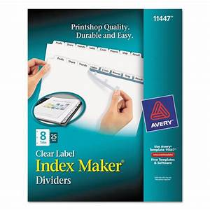 avery print apply clear label dividers w white tabs 8 With ave11447