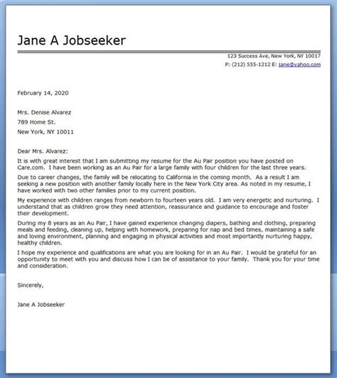 au pair cover letter sample sample resume cover letter