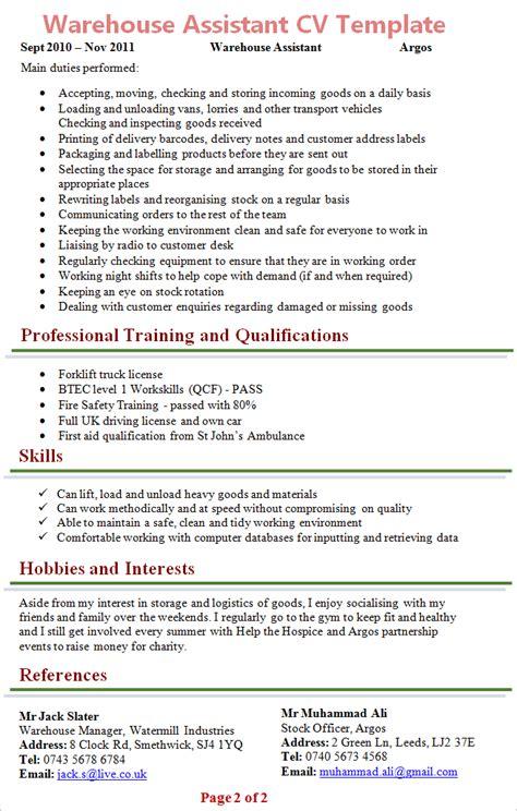 resume sle for warehouse assistant danaya us