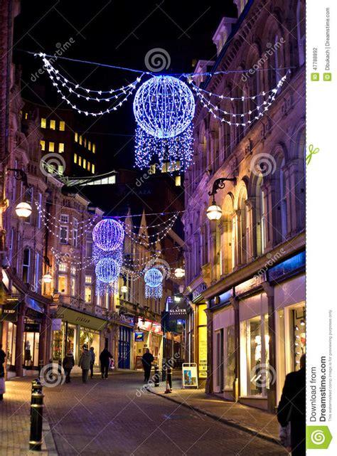 christmas lights in downtown birmingham uk editorial
