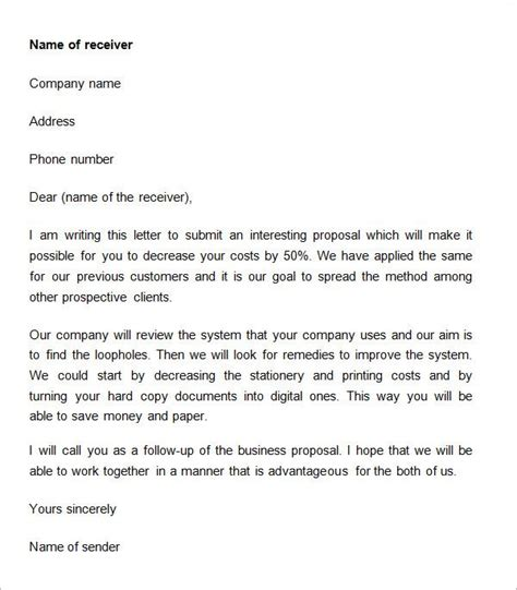 business proposal letter   document samples