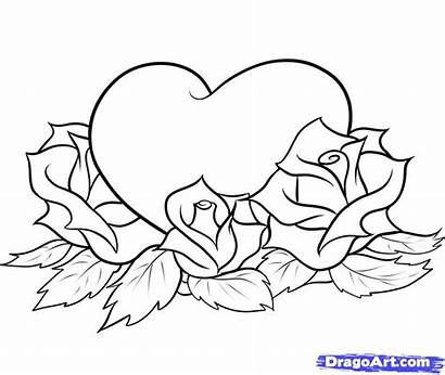 Coloring Pages Heart Rose Hearts Roses Mom