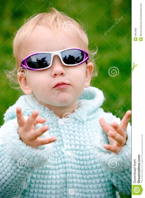 funny child  glasses stock photo image  outdoors