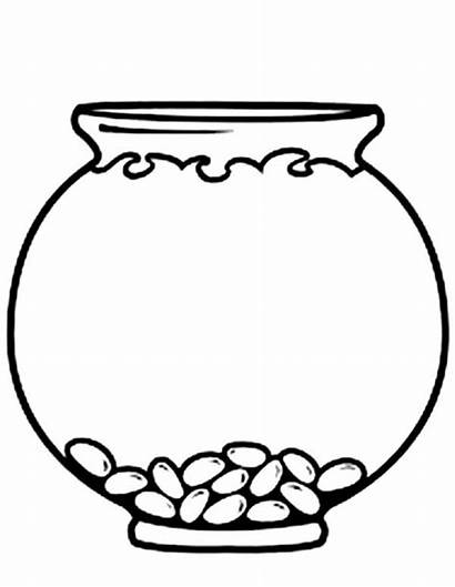Fish Bowl Empty Coloring Pages Colouring Clip