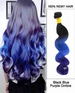 22 Inch Body Wave Hair Chart 14 Black Blue Purple Ombre Hair Three Tones Hair Weave