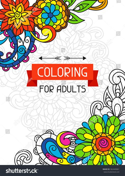 adult coloring book design for cover illustration of