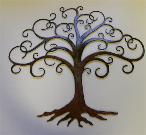 swirled tree of metal wall decor by