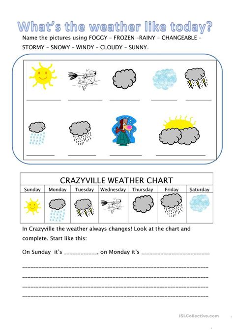 What's The Weather Like Today? Worksheet  Free Esl Printable Worksheets Made By Teachers