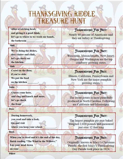 treasure hunt for free printable thanksgiving riddle treasure hunt 18 mix and match clues