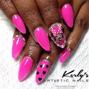 Minnie Mouse Nails Neon Pink Nail Art Gallery