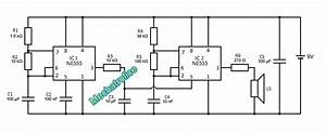 Wailing Siren Circuit Diagram Using 555 Ic