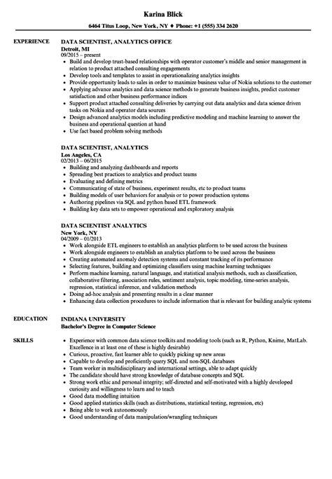 Scientist Resume by Data Scientist Resume Data Scientist Resume Sle Data Sc