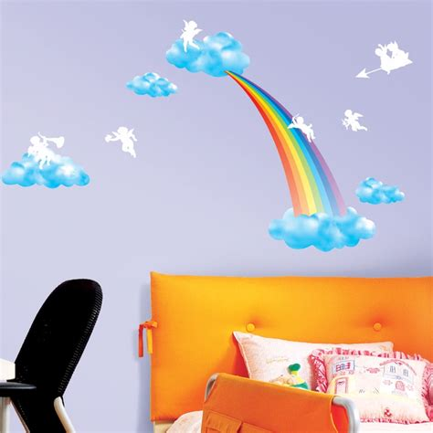 sticker arc en ciel anges stickers enfants ambiance sticker
