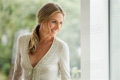 mature blonde woman   portrait stock photo