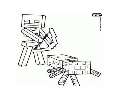 Minecraft Coloring Spider Pages Jockey Printable Colorear