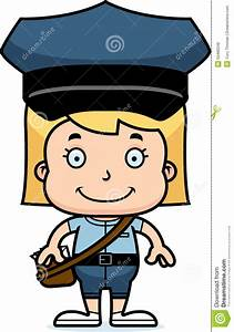 Cartoon Smiling Mail Carrier Girl Stock Vector - Image ...