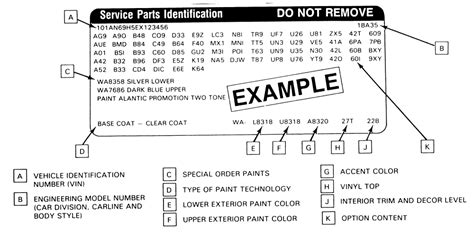 Service Parts Identification Sticker Location For 2012