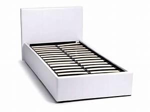 Lit 1 Place Adulte : lit coffre 90x190 cm skon coloris blanc vente de lit enfant conforama ~ Nature-et-papiers.com Idées de Décoration