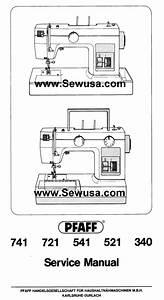 Pfaff 340 521 541 721 741 Service Manual