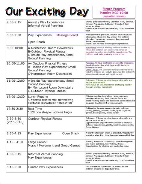 preschool children s centre mississauga 607 | preschool schedule