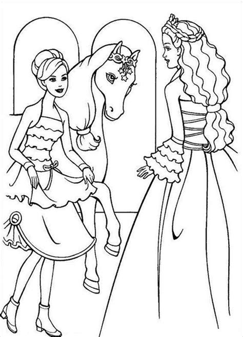 barbie  horse coloring pages   print