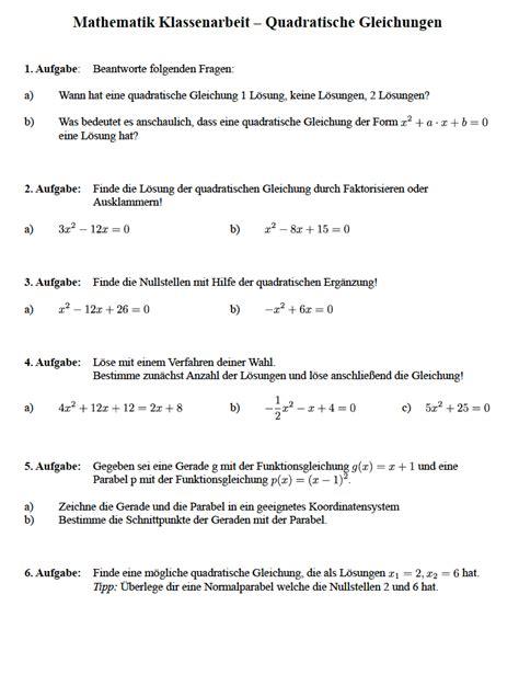 quadratische gleichung loesen klasse  klassenarbeit