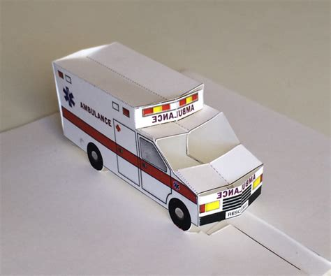 pop  ambulance printable  paper toy    card