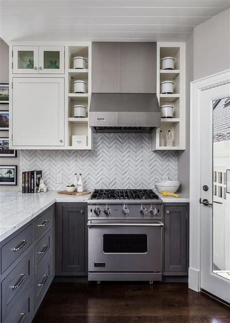 white upper cabinets grey lower white upper cabinets with distressed gray lower cabinets 262 | open shelves flanking small viking kitchen hood stove