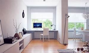 White built in office desk