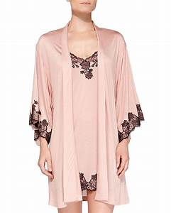 josie natori charlize floral lace trimmed wrap robe in With robe charlise